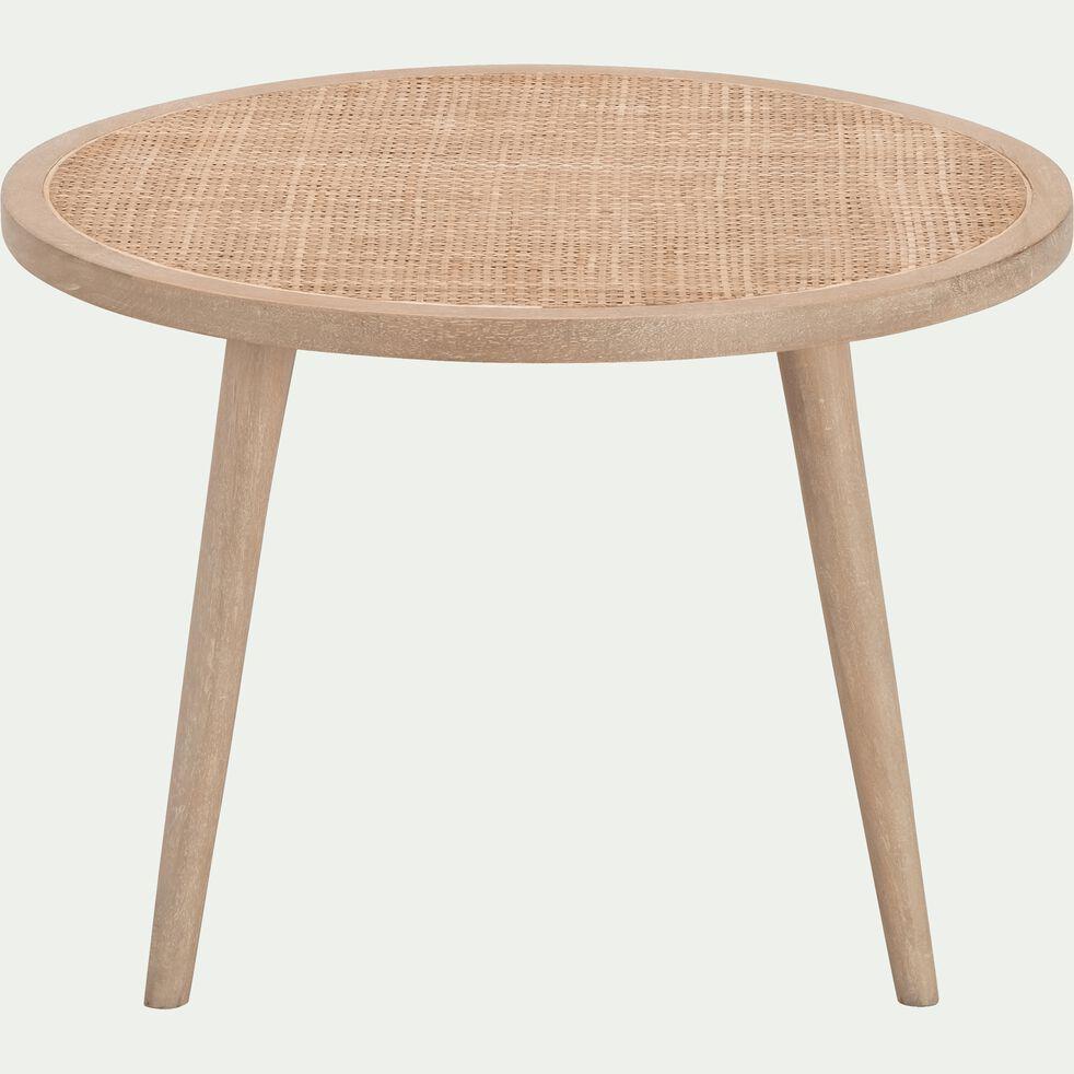 Table Basse Ronde En Manguier Et Cannage En Rotin Ecueil Table Basse En 2020 Table Basse Table Basse Ronde Table Basse Alinea