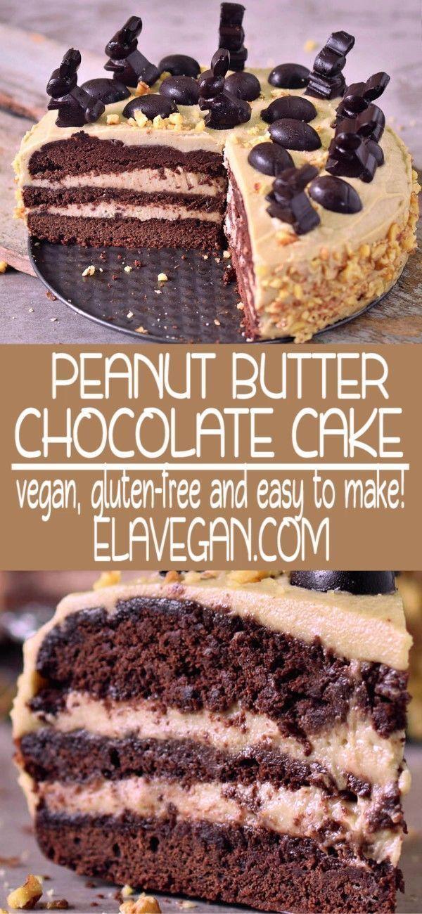 Photo of Peanut butter chocolate cake | vegan, gluten-free – Elavegan