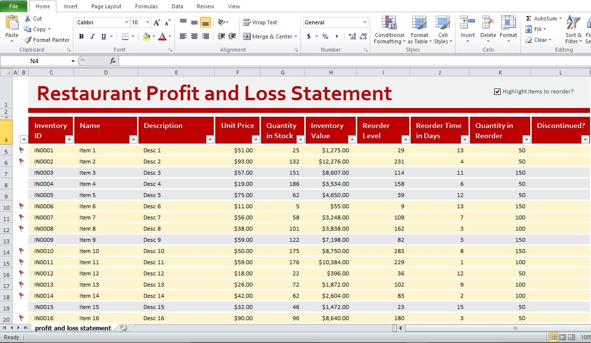restaurant profit and loss statement template excel excel