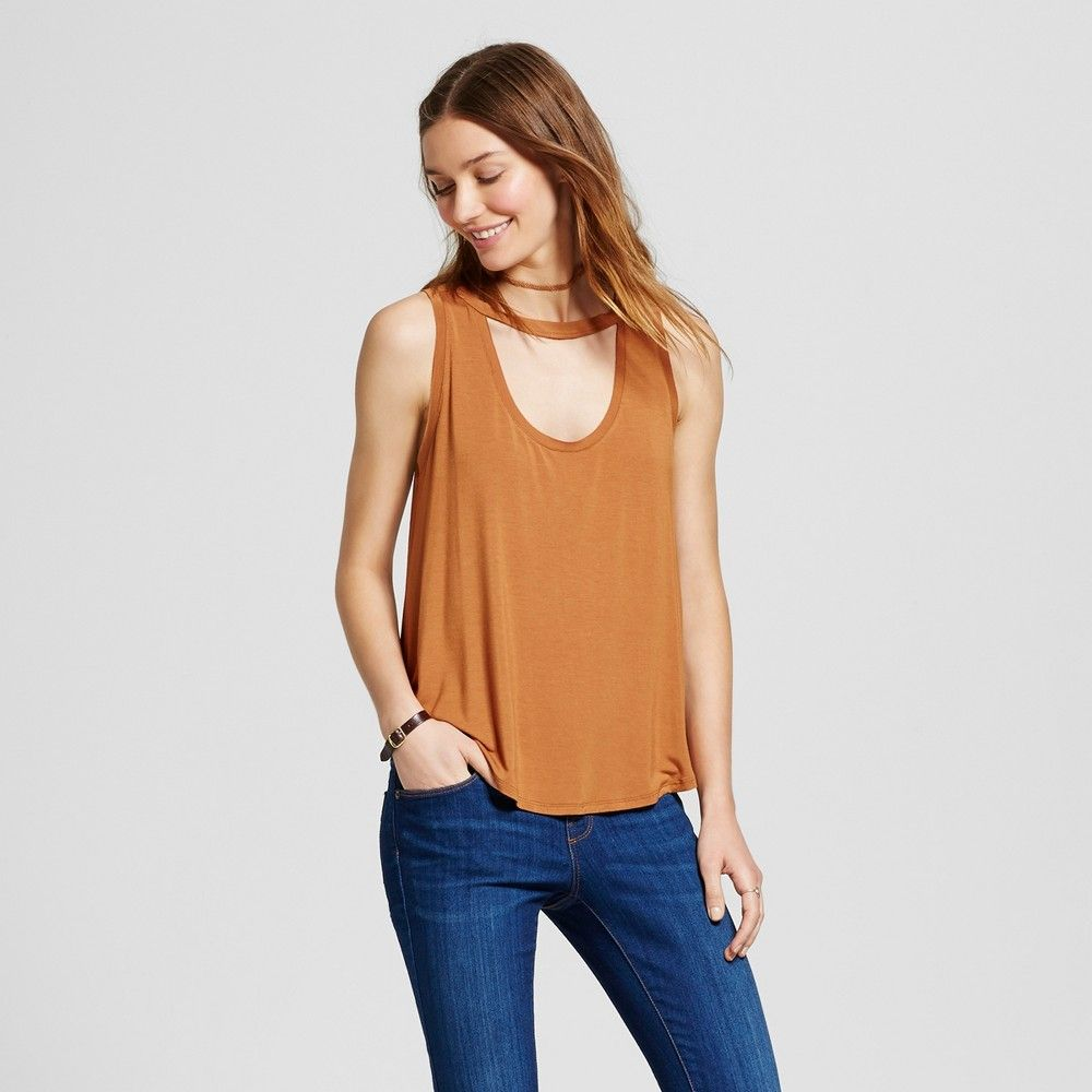 Women's Knit Cut-Out Tank - Mossimo Supply Co. Toffee S