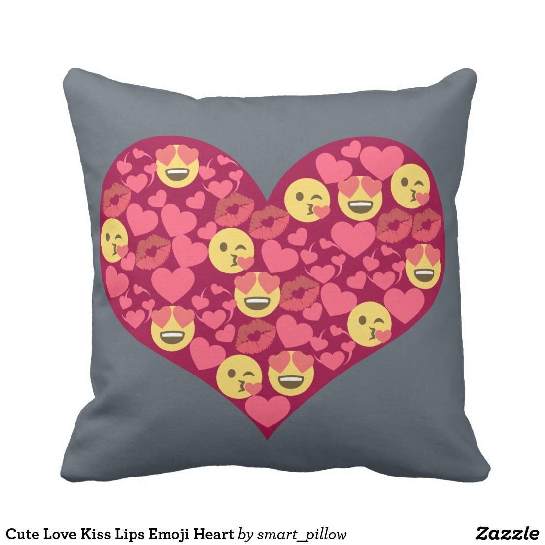 Cute Love Kiss Lips Emoji Heart Throw Pillow   Zazzle com