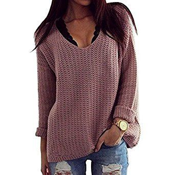 Thanth Womens Casual Hollow Knit VNeck Blouse Pullover Loose Tops Sweater THANTH