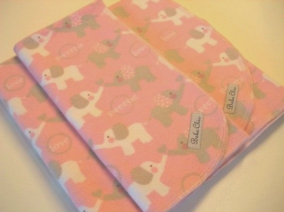 Baby Elephants Love Pink Gray Flannel Blanket by BebeChicBoutique, $16.00