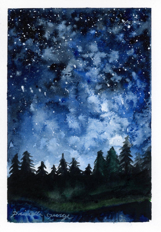Night Sky Wall Art Print - Celestial Watercolor Hikers Drawing Ideas
