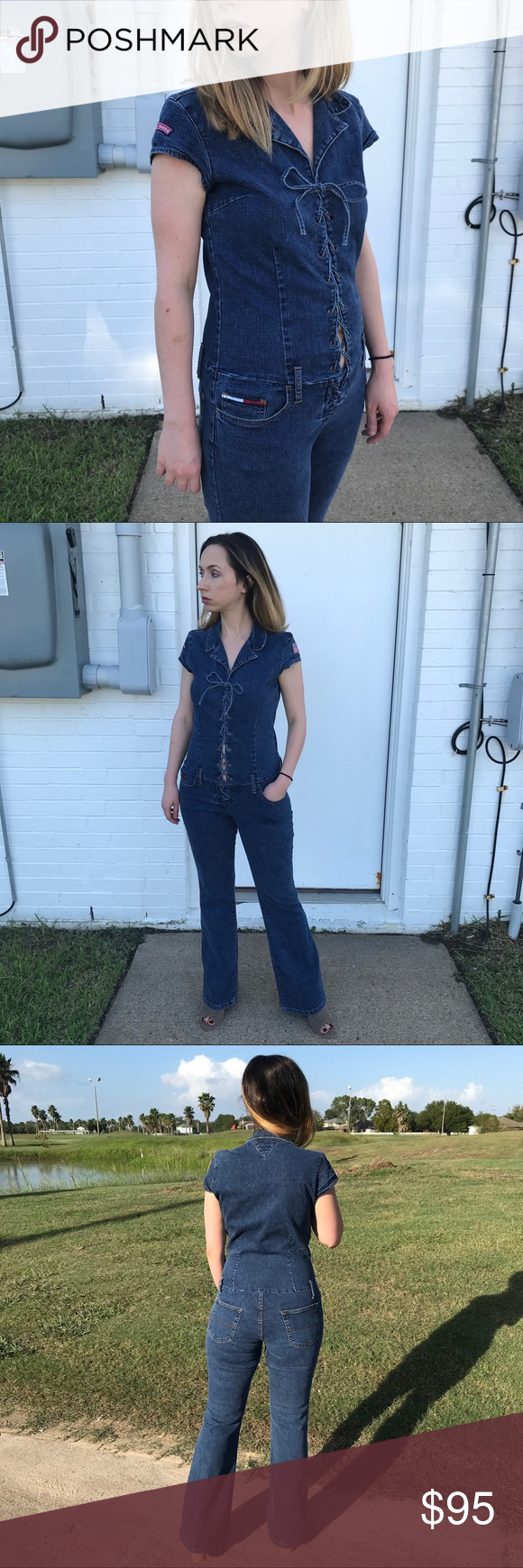 192173b95dd9 VTG Tommy Hilfiger Lace Up Denim Jumpsuit 90s Excellent vintage condition.  Lace-up denim