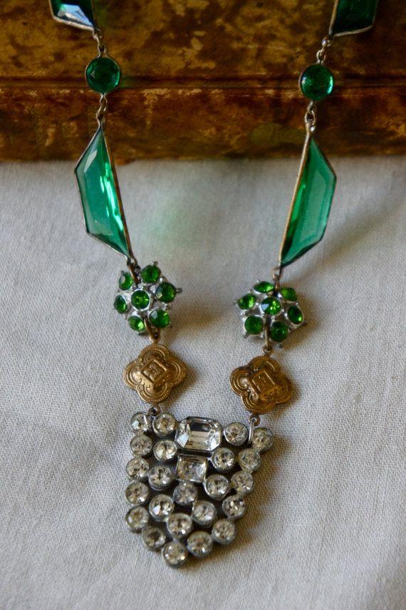 Faux Emerald Necklace Vintage Assemblage Necklace