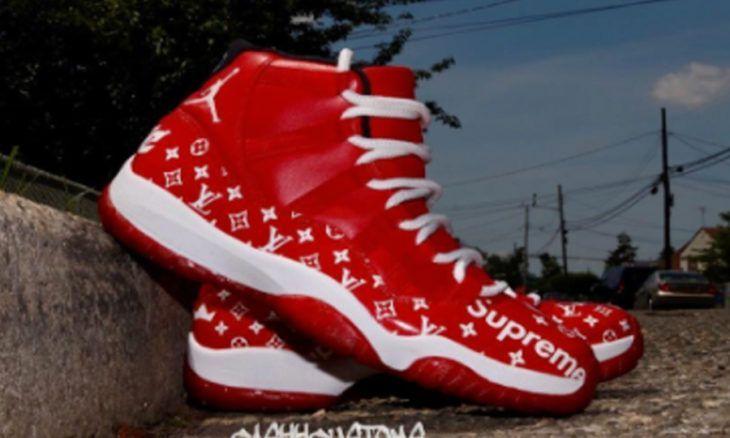 a4a050b282c3 Custom LV x Supreme Air Jordan 11 – Custom Kicks  Sneakers ...