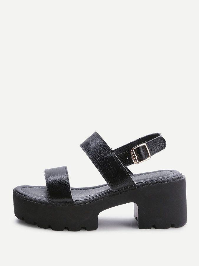 80c23dbb789 Shein Black Strappy Platform PU Sandals