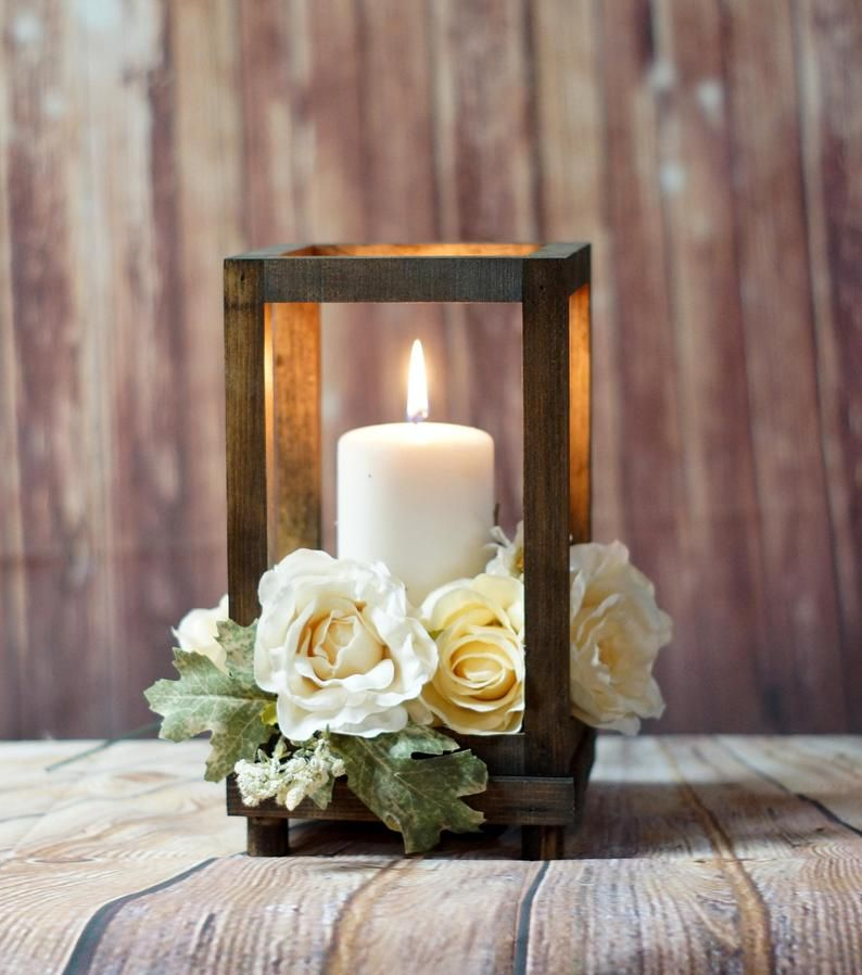 Wedding Gift Table Ideas: Reclaimed Wood Candle Lantern Centerpiece, Rustic Wedding