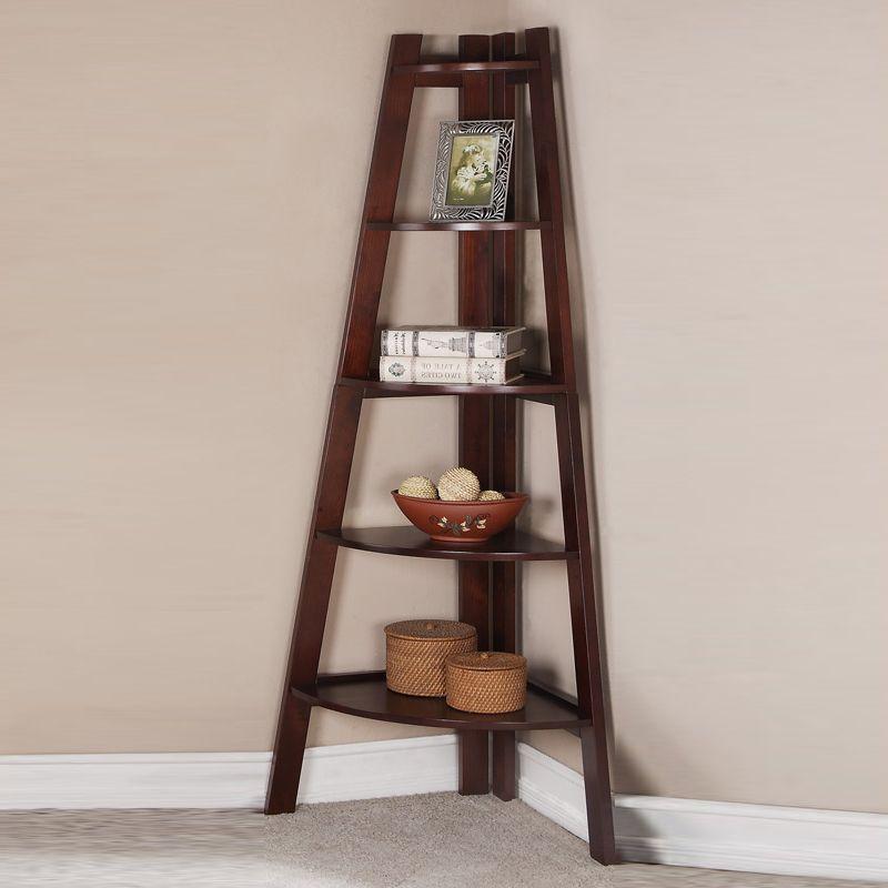 Elegant Sleek Walnut Corner Shelf Bookcase Bookshelf Storage Shelves |