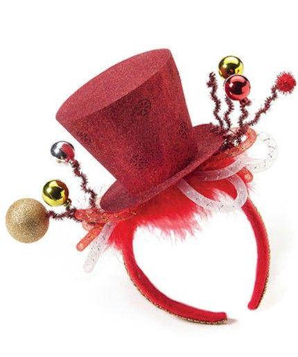 LADIES BLACK MINI GLITTER TOP HAT HEADBAND WITH CHRISTMAS HOLLY XMAS FANCY DRESS