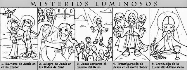 RELIALBA: MISTERIOS DEL SANTO ROSARIO PARA COLOREAR. | Catechism ...