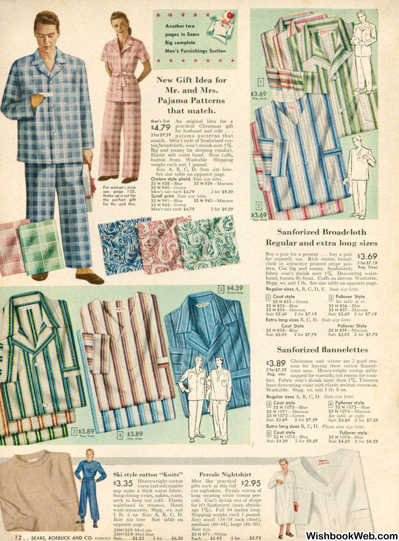 Mens pajamas: 1948 Sears Christmas Catalogue | Cat on a Hot Tin Roof ...