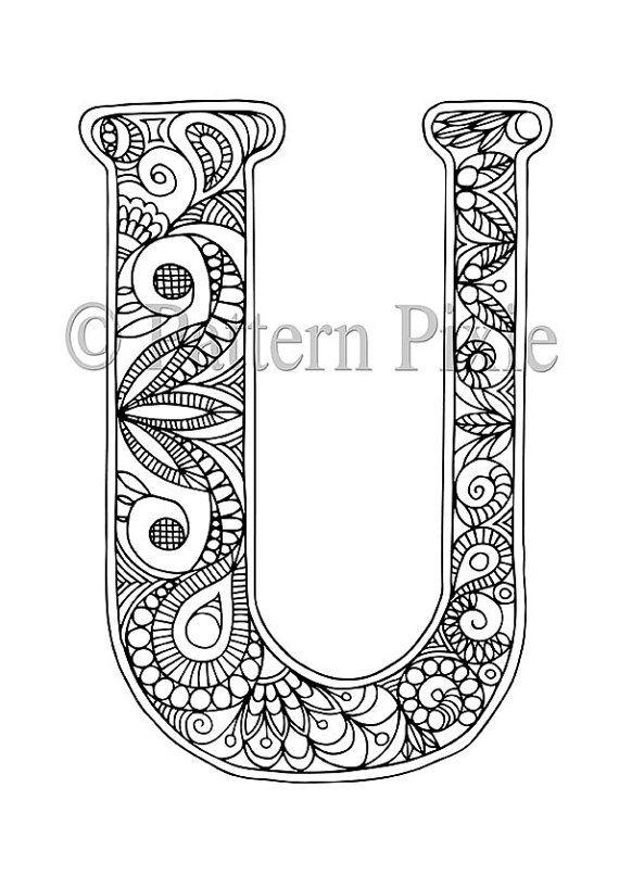 adult colouring page alphabet letter u mandala letras originales vectores letras y letras. Black Bedroom Furniture Sets. Home Design Ideas
