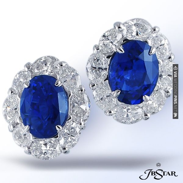 JB Star oval sapphire earrings surrounded by diamonds ...