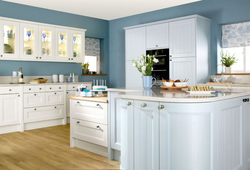 Bright Colours Kemble Painted Ash Cornflower Blue And Bone Fitted Kitchens