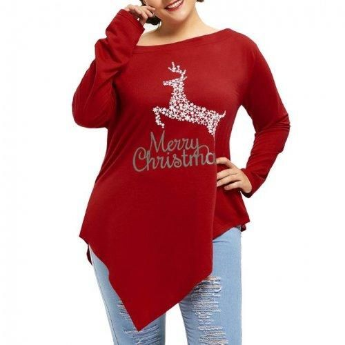 Women Plus Size Merry Christmas Prints Tops In 2018 Women Blouse