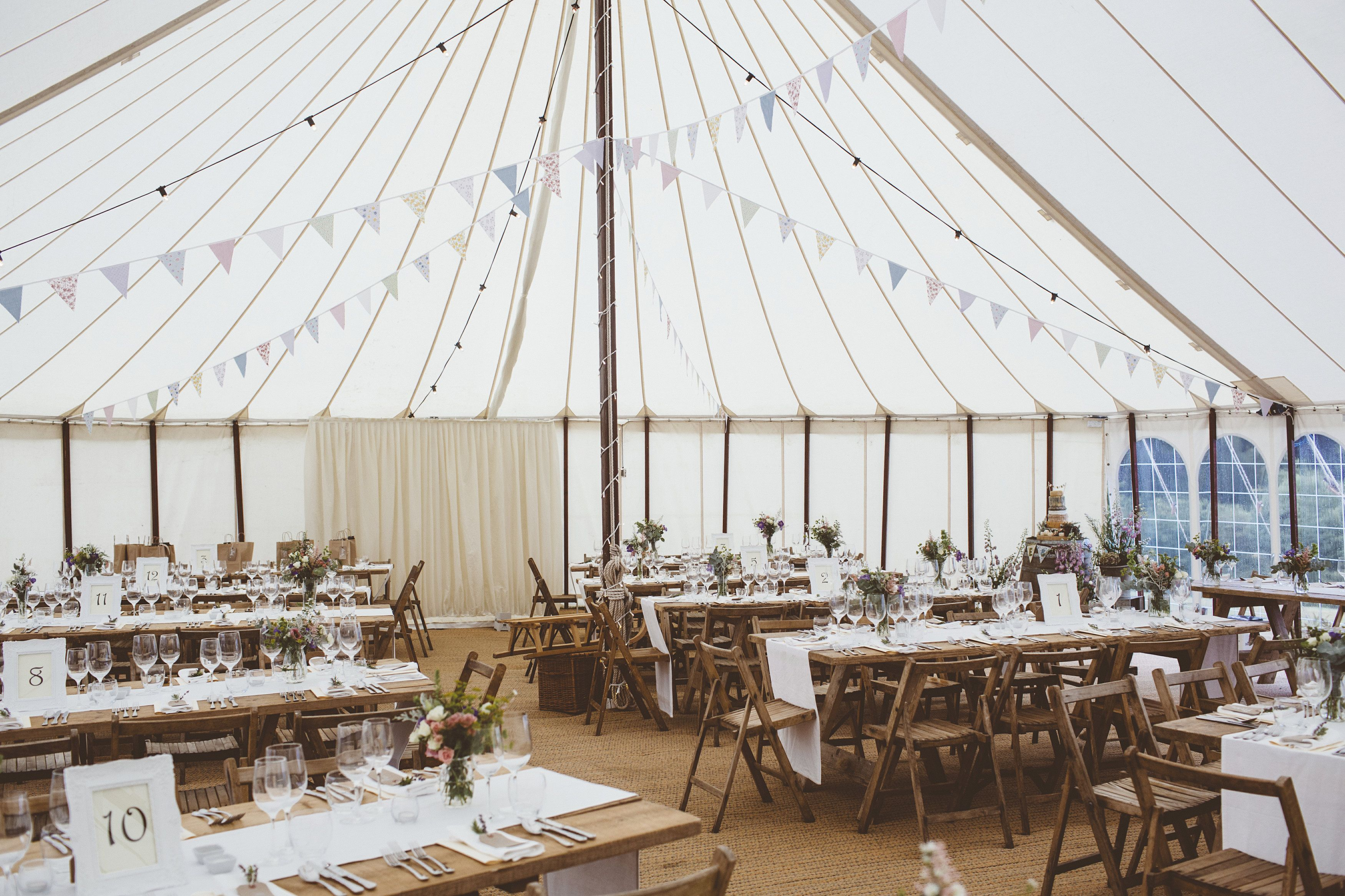 Surrey Countryside Garden Marquee Wedding Setup Wooden Rectangular Tables Rustic Style White Table Runners And Wedding Set Up Garden Marquee Marquee Wedding