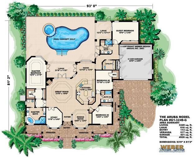Florida house plan aruba house plan weber design group for Weber house plans
