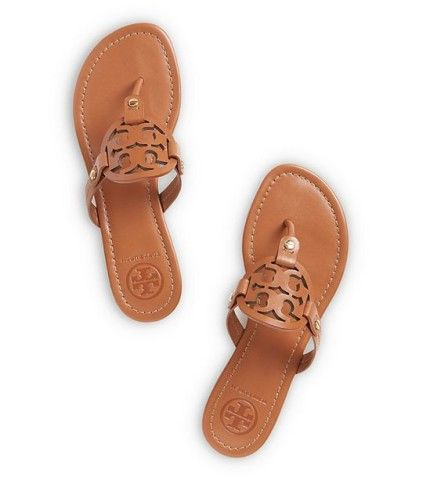 A comfortable staple for sunny days and warm getaways, our popular Miller Sandal — in rich leather with a laser-cut logo — goes with just about anything in your wardrobe. A chic alternative to the basic flip-flop, it's effortlessly polished. DETAILS & FIT Leather upper. Leather logo. Leather lined. Rubber sole.