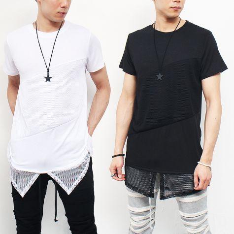 Avant garde Layered Mesh Hem Short Sleeve T Shirt