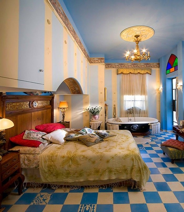 Schlafzimmer Ideen Wandgestaltung Luxuriös Farbiger Bodenbelag