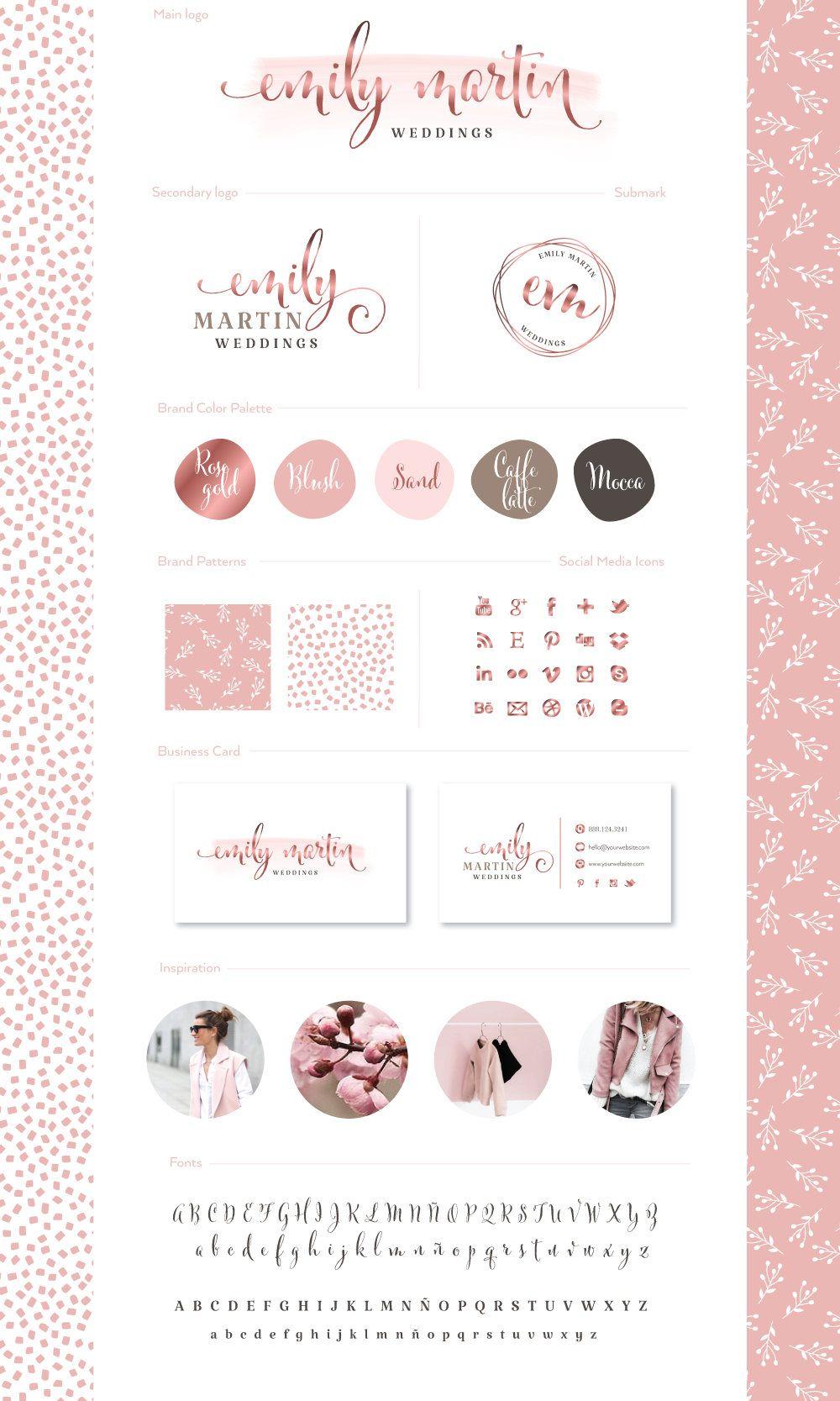 Premade Branding Kit Photography Weddings Logo Set Watermark