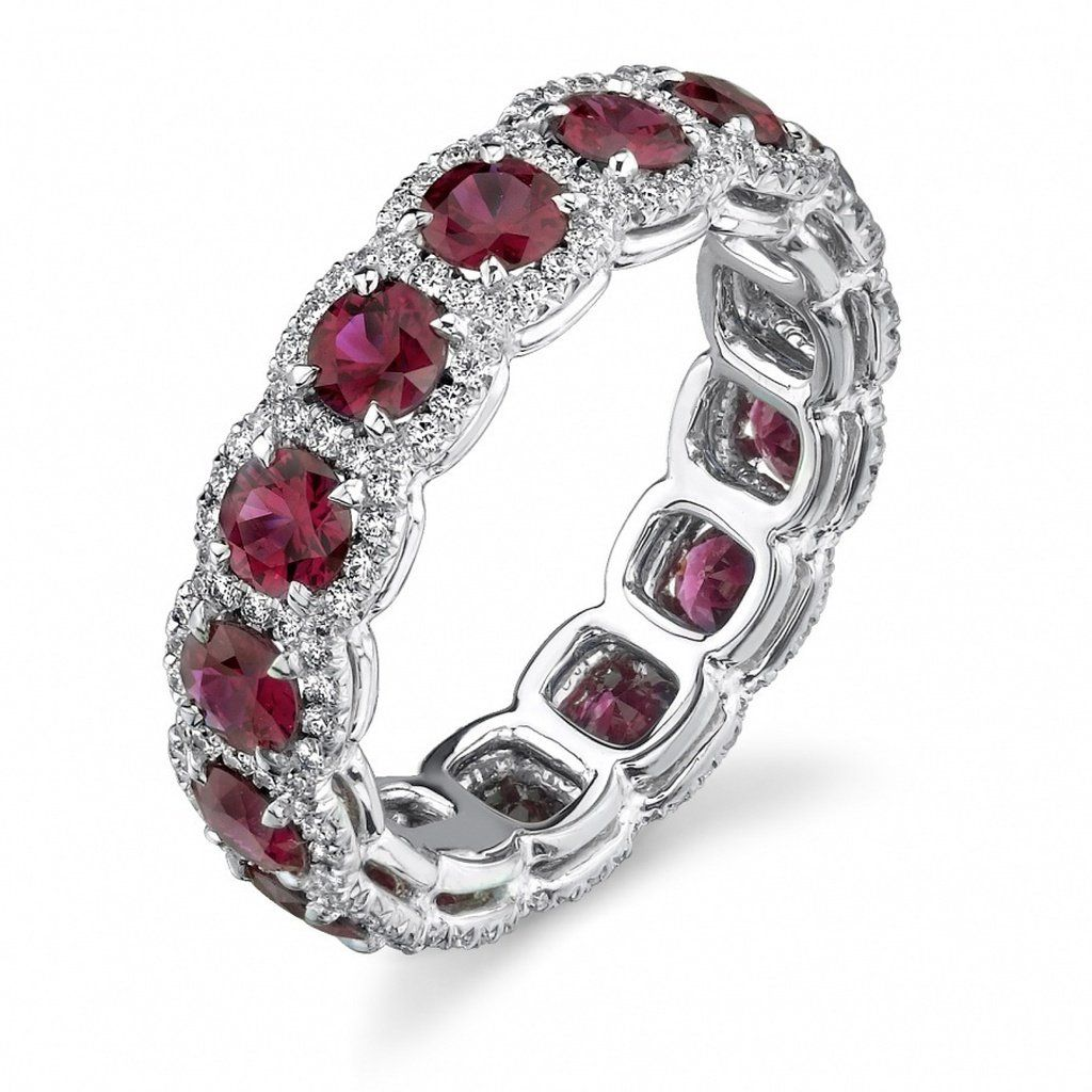 Stackable 925 Sterling Silver Red Ruby Gemstone Stacking Eternity Band Ring
