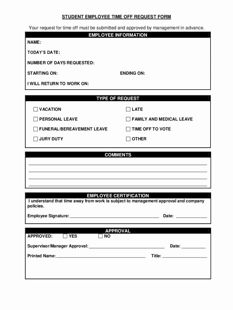 Pto Request Form Template Unique Time F Request Form Template Microsoft Time Off Request Form Doctors Note Template Rental Agreement Templates Time off request form template