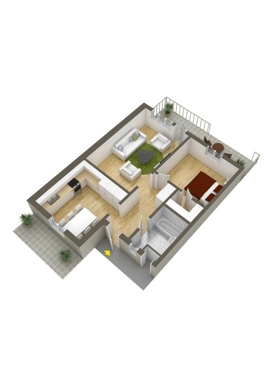 40 More 1 Bedroom Home Floor Plans House floor plans Apartm