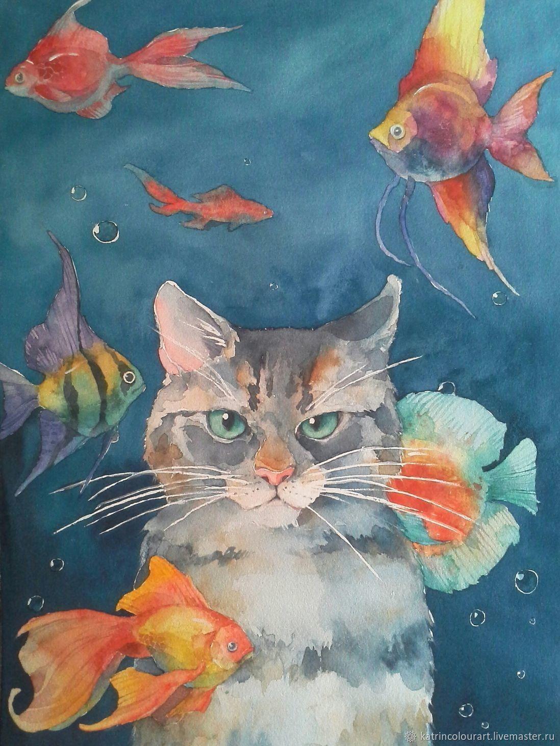 Купить Картина акварелью _ Рыбный день _ кот и рыбки в ...
