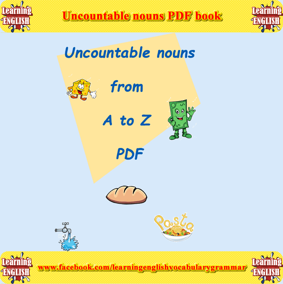 Uncountable Nouns List Book In Pdf Free To Download  Vocabulary