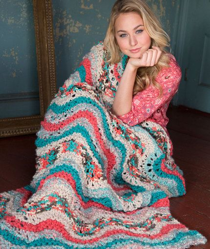 Retro Knit Throw Free Knitting Pattern in Red Heart Yarns | New, New ...