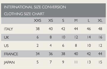 International Fashion Conversion Chart  Style Charts  Etchings