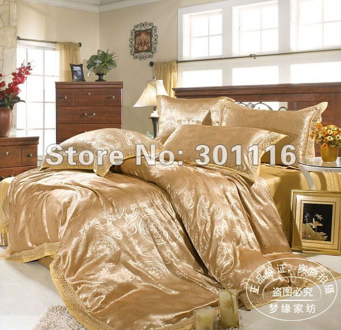 4pcs Luxurious Hand Embroidery Jacquard Satin Comforter Set Bedding Set Duvet Cover Set Bedding Sets Comforter Sets Comforter Bedding Sets