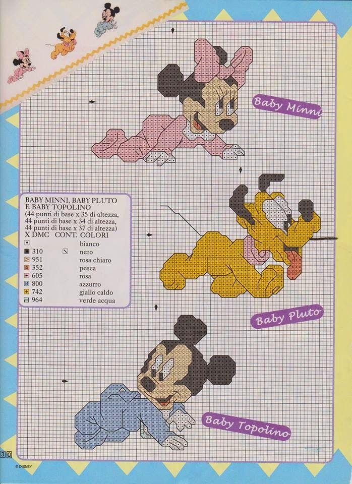 Schema punto croce topolino minnie baby hobby lavori for Ricamo punto croce schemi gratis