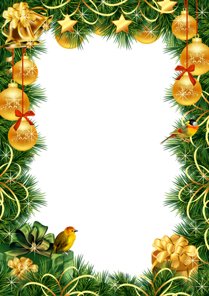 Christmas Transparent PNG Photo Frame with Gold Christmas