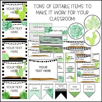 Watercolor Succulent & Cactus Classroom Decor