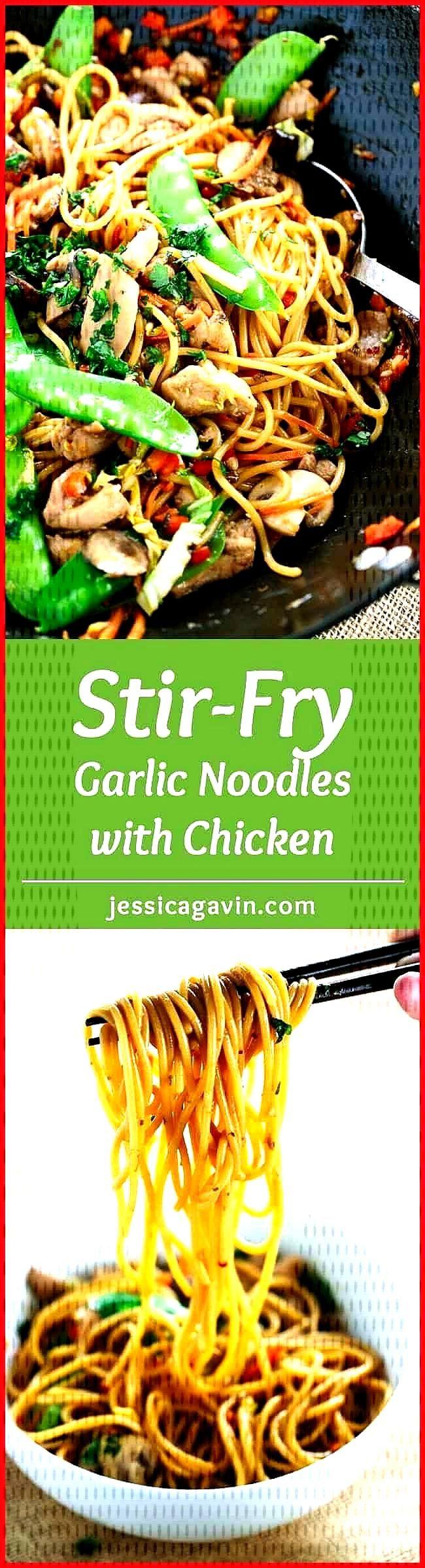 Stir-Fried Garlic Noodles with Chicken Stir-fried garlic noodles served with tender pieces of chick