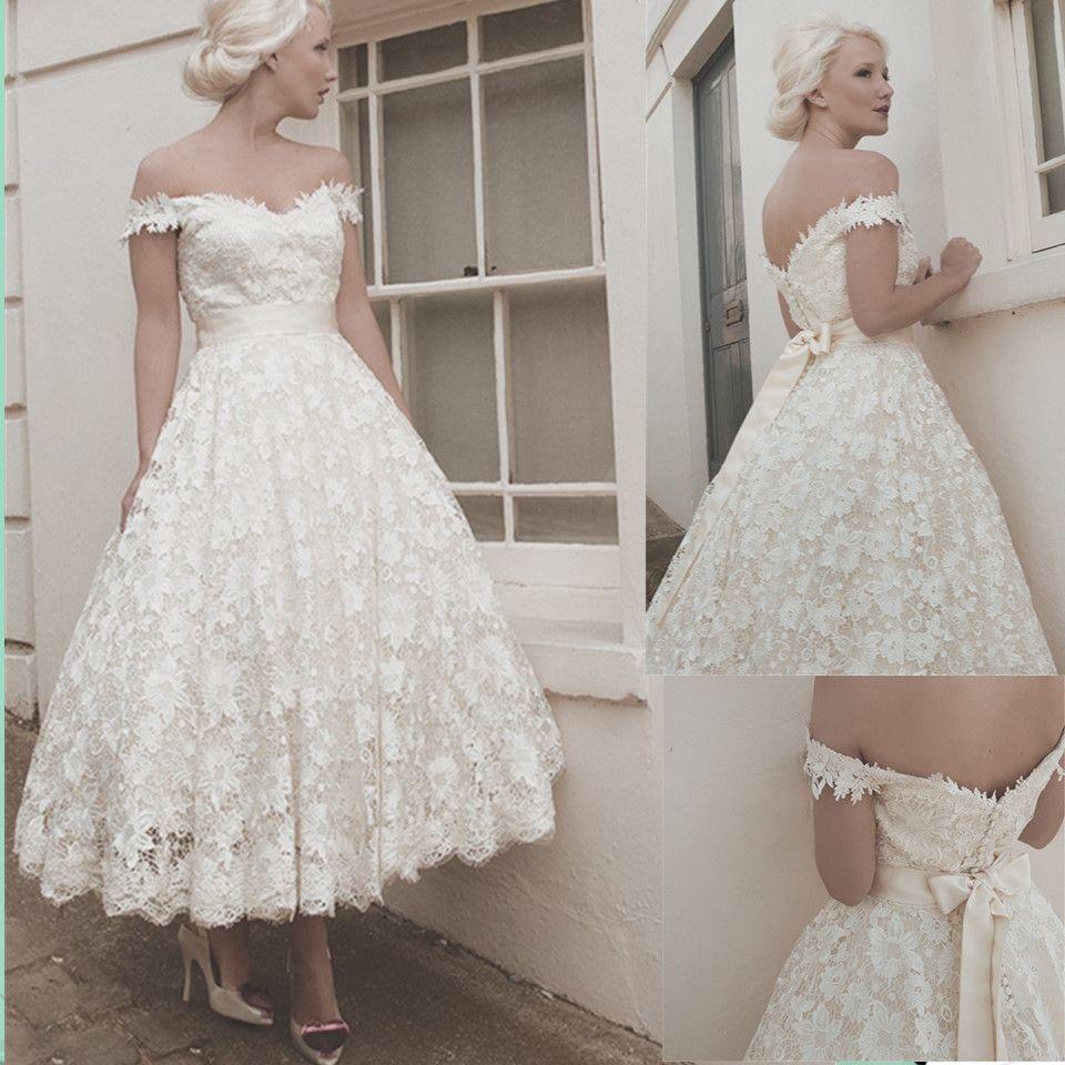 Ivory Lace Short Wedding Dress 2015 Off Shoulder Bridal