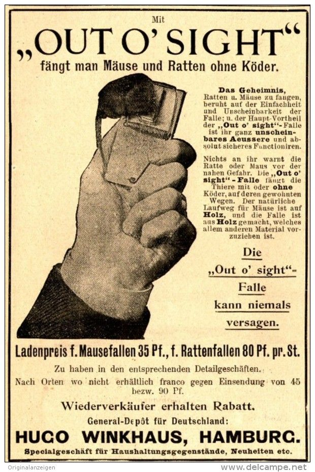 "Original-Werbung/ Anzeige 1898 - ""OUT O' SIGHT"" RATTEN - MAUSE-FALLEN / HUGO…"
