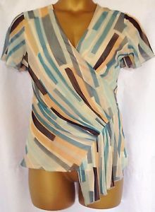 Ladies size 16 faux wrap top blouse Aqua Mix Marks & Spencer