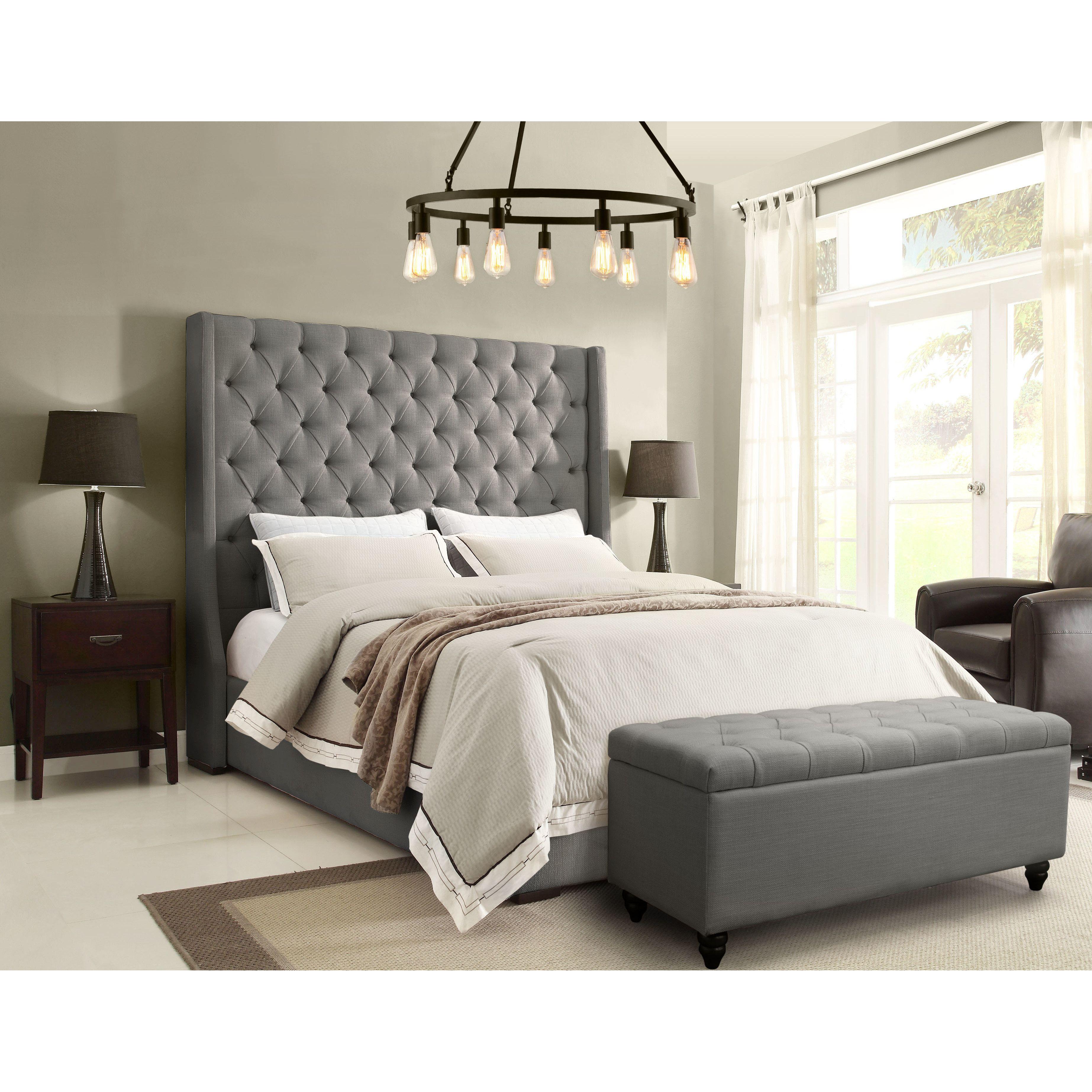 Diamond Sofa Park Avenue Upholstered Platform Bed   Warehouse Loft ...