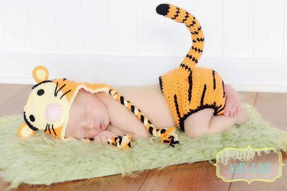 Crochet Tiger Character Beanie Hat & Diaper, Crochet Tigger, Newborn, Baby Shower Gift, Photo prop by sisters craft corner #Sisterscraftcorner #Crochet #Tigger #Tiger #babygift