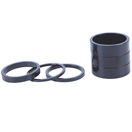 """3 bicycle headset spacers silver black alloy 10mm x 1-1//8/"""""""