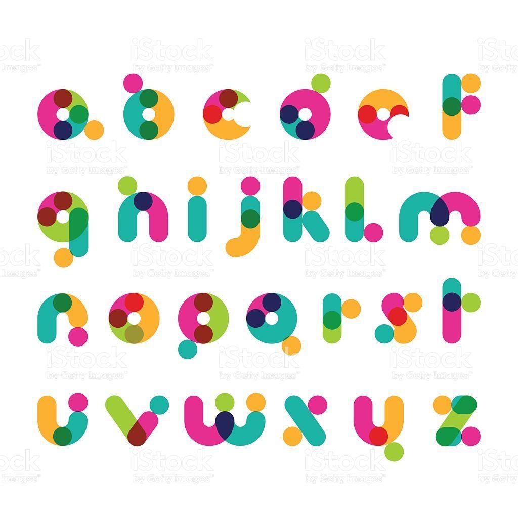 colorful round modern font symbols latin decorative alphabet