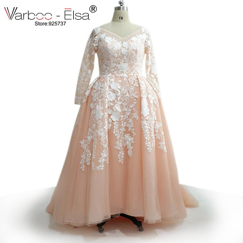VARBOO ELSA Custom Made Plus Size Evening Dress 2017 Pink Tulle Long Sleeve Prom  Dress Muslim Formal b5acf069a757