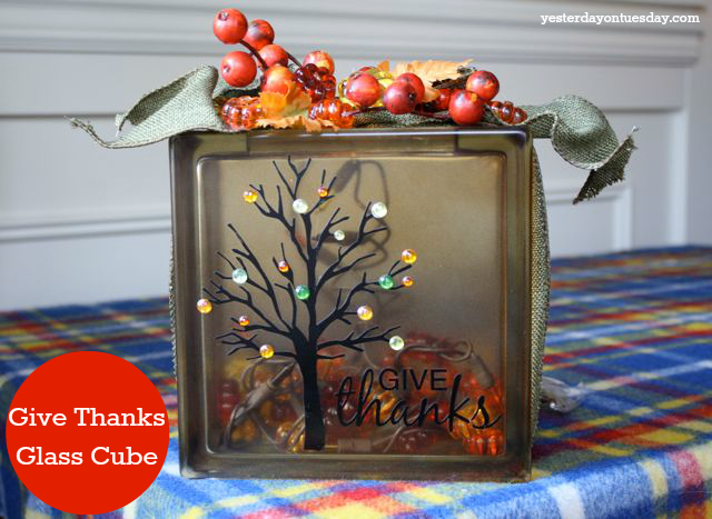Give Thanks Glass Cube with supplies from @Ben Silbermann Silbermann Silbermann Franklin Crafts and Frames #falldecor #fallcrafts