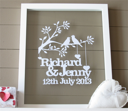 Framed Personalised Wedding or Anniversary papercut