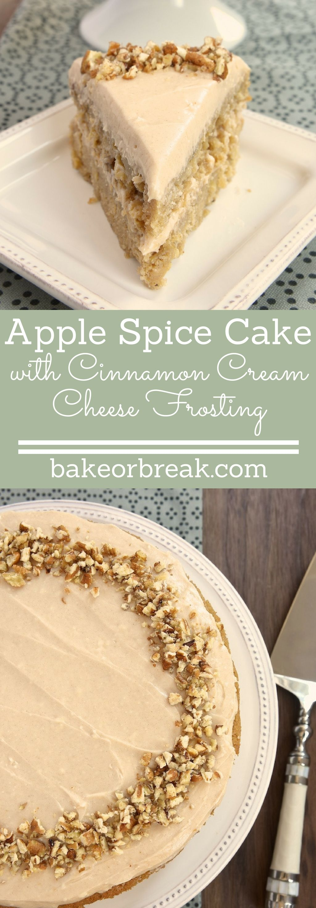 Apple Spice Cake with Cinnamon Cream Cheese Frosting #applerecipes